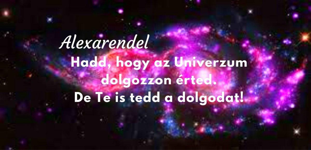 Hadd, hogy az Univerzum dolgozzon érted. De Te is tedd a dolgodat alexarendel